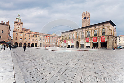 Piazza Maggiore with Accursio Palace Editorial Photo