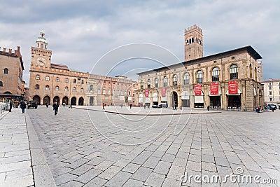 Piazza Maggiore with Accursio Palace Editorial Photo