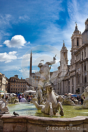 Piazza Navona fountain in Rome Italy Editorial Photography