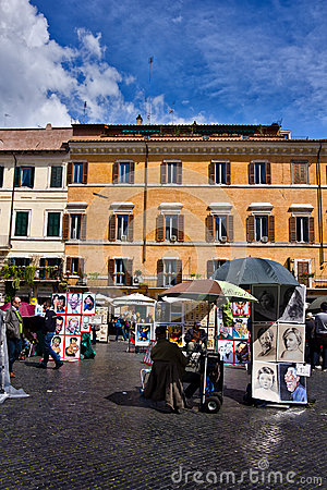 Piazza Navona in Rome Italy Editorial Stock Photo