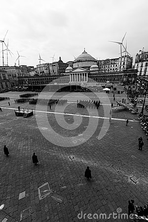 Piazza plebiscito PD party in naples Editorial Stock Image