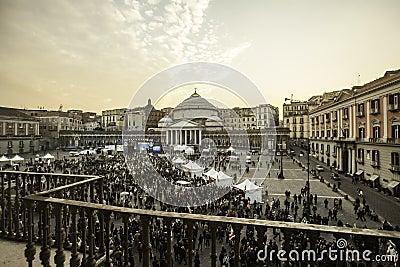Piazza plebiscito PD party in naples Editorial Image