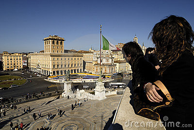 Piazza Venezia and Victorian,Rome,Italy Editorial Image