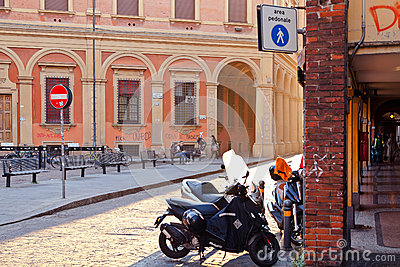 Piazza Vittorio Puntoni in Bologna Editorial Stock Photo