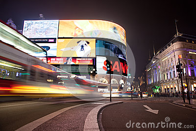 Piccadilly Circus in London. Editorial Stock Photo
