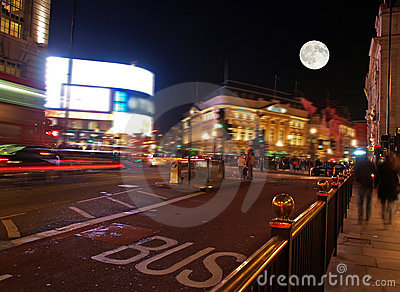 The piccadilly circus at night
