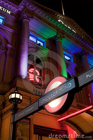 Piccadilly Circus underground station entrance Editorial Image