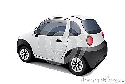 Piccola automobile speciale su priorità bassa bianca
