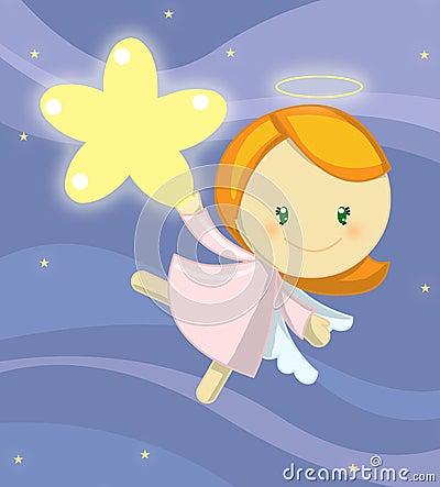 Piccola ragazza sveglia di angelo