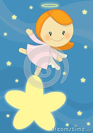 Piccola ragazza sveglia di angelo che si leva in piedi su una stella luminosa