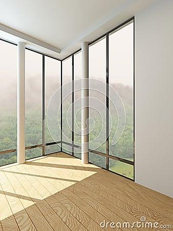 pi ce vide moderne avec le plancher la fen tre de plafond photo stock image 40377786. Black Bedroom Furniture Sets. Home Design Ideas