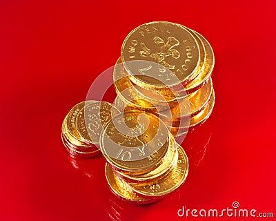 Pièces de monnaie britanniques de chocolat