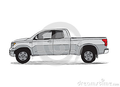 Pick-up truck cartoon style drawing