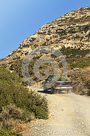 Pick up truck in the dry hills of crete