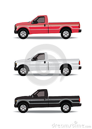Pick-up trucks in three colors