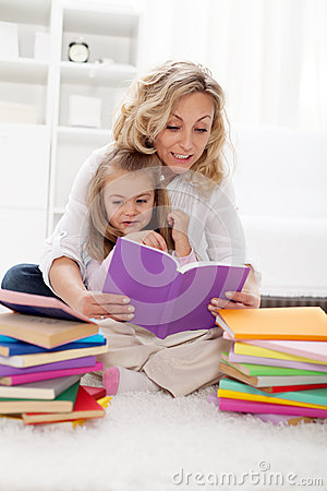 Picking a story to read with mom