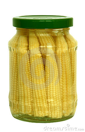 Pickled baby corn cobs