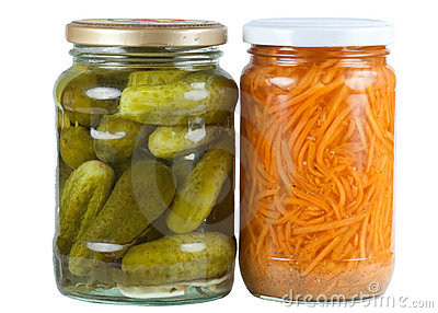 Pickled cucumbers and carrots