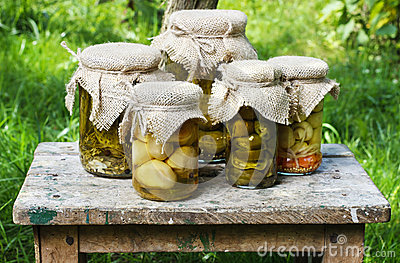 Pickled mushrooms and cucumbers
