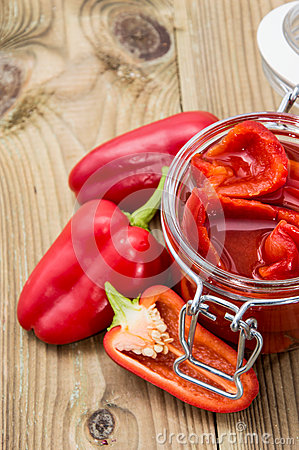 Pickled Paprikas in a glass