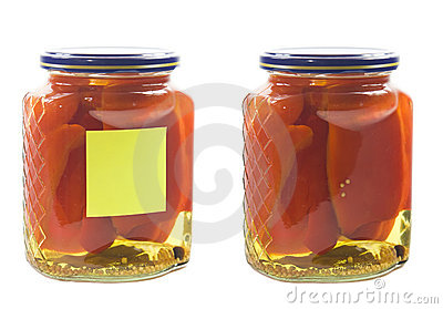 Pickled peper in jar