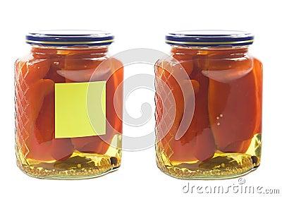 Pickled peper in jar