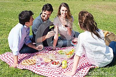 picknick mit freunden am park lizenzfreie stockbilder bild 32226579. Black Bedroom Furniture Sets. Home Design Ideas