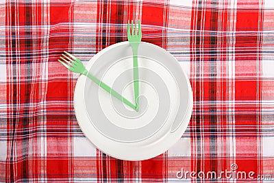 Picknick. platta på tableclothen