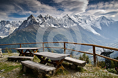 Picnic area in the French Alps