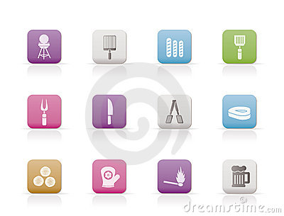 Picnic, barbecue and grill icons