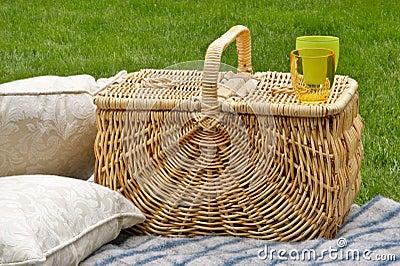 Picnic basket and cushions
