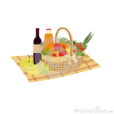 Free Picnic Basket Filled With Food Vegetables And Fruits. Vector Family Picnic. Summer Picnic, Barbecue. Stock Images - 59394364
