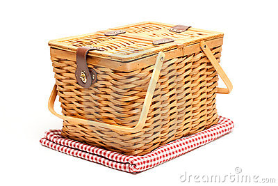 Picnic Basket and Folded Blanket Isolated