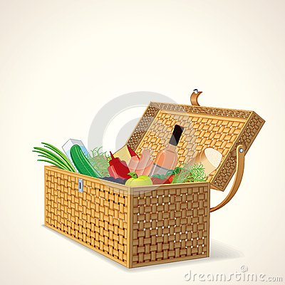 Picnic Basket with Fruit, Vegetables and Wine.