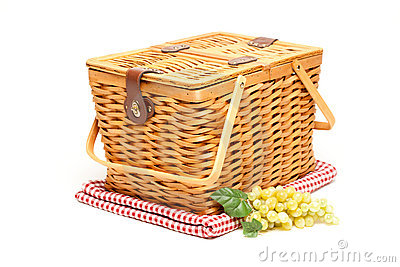 Picnic Basket, Grapes and Folded Blanket Isolated
