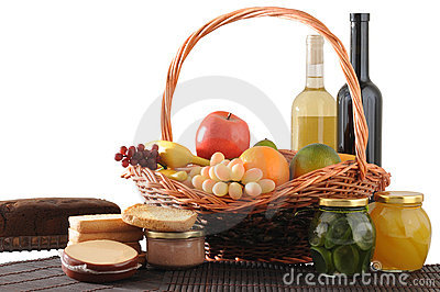 Picnic basket. Isolated