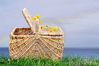 Picnic basket by ocean