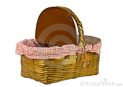 Picnic basket open isolated on white