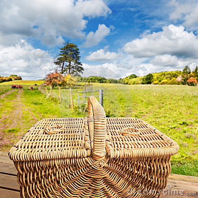 Picnic basket on step