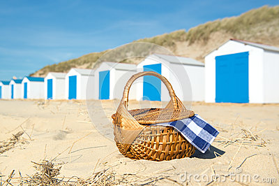 Picnic at beach with Blue huts