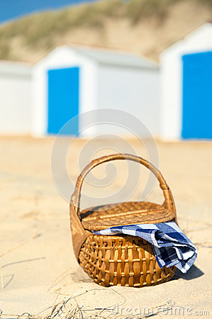 Picnic at beach with Blue huts