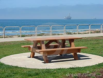 Picnic Bench Overlooking Ocean