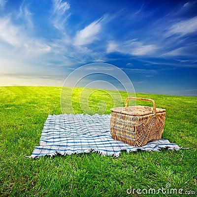 Free Picnic Blanket & Basket Royalty Free Stock Photos - 20451278