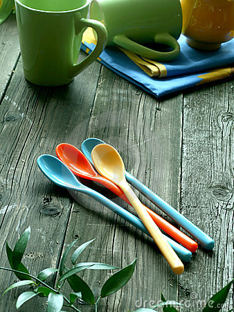 Picnic, color dishware on wooden
