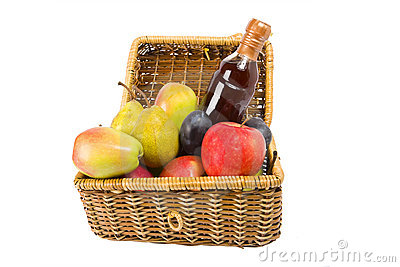 Picnic hamper with fruits and wine