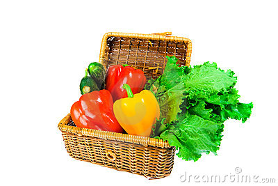 Picnic hamper with vegetables
