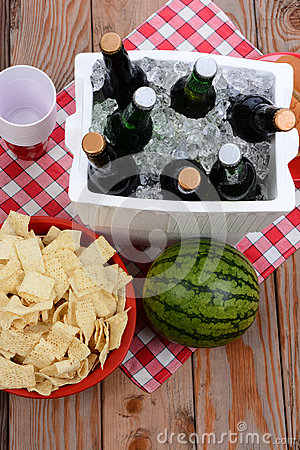 Picnic Spread on Wood Deck