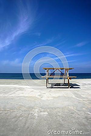 Picnic table on beach