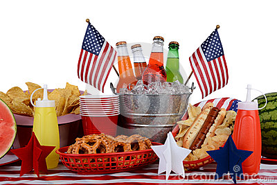 Picnic Table Fourth Of July Theme Stock Image Image