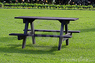 Picnic table on grass
